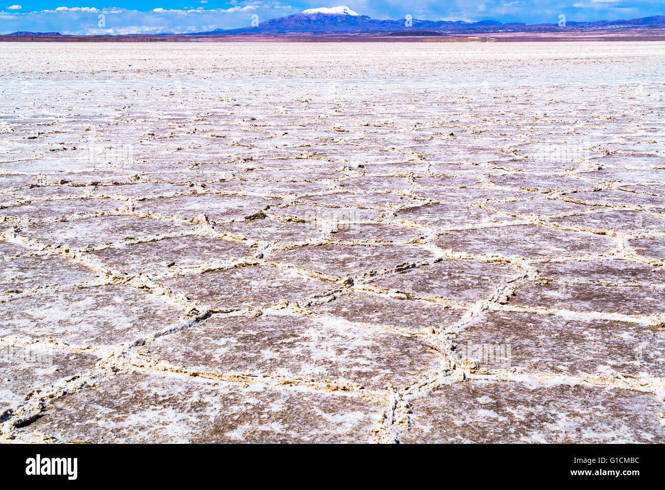 View of Uyuni Salt Flat, the world largest salt flats in Uyuni, Bolivia - Stock Image