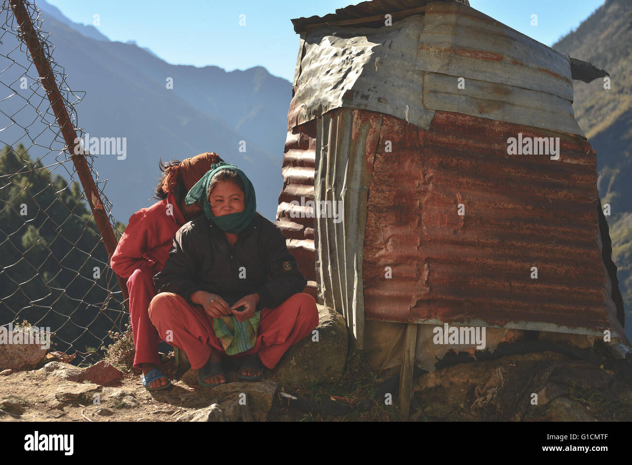 Young sherpas from Namche Bazaar; one of the main villages on route to Mt Everest - Stock Image