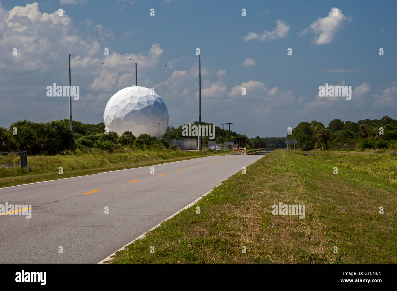 Titusville, Florida - A radar dome in Canaveral National Seashore near Kennedy Space Center. - Stock Image