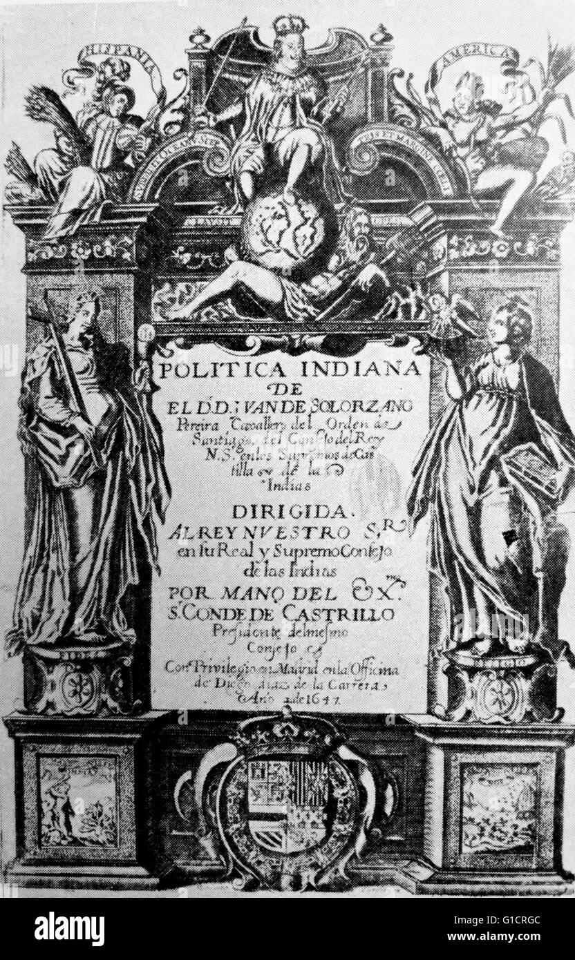 Catalan version of De Indiarum Jure by Juan de Solórzano Pereira (1575-1655); Spanish writer on the native - Stock Image
