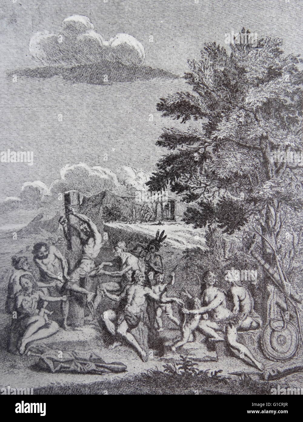 1752 illustration of South American Indians sacrificing a Spanish Colonist. By jorge Juan y Ulloa - Stock Image