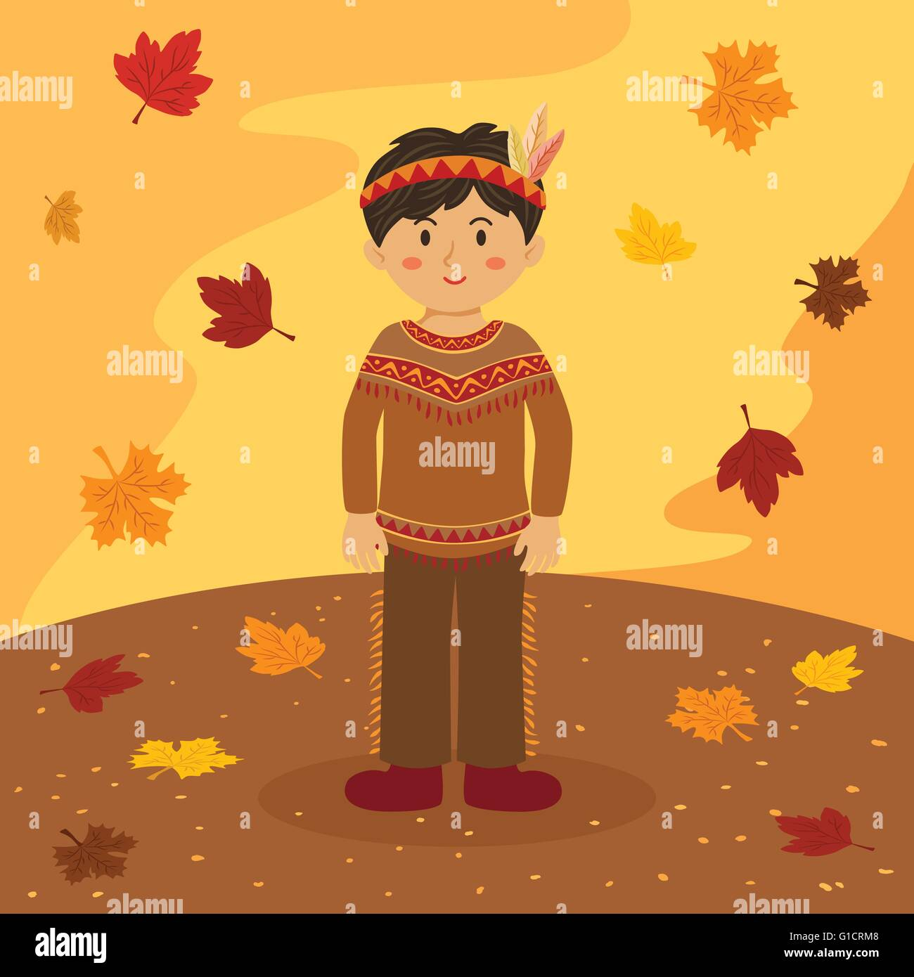 Thanksgiving indian boy illustration of thanksgiving greeting card thanksgiving indian boy illustration of thanksgiving greeting card with a native american boy in autumn background m4hsunfo