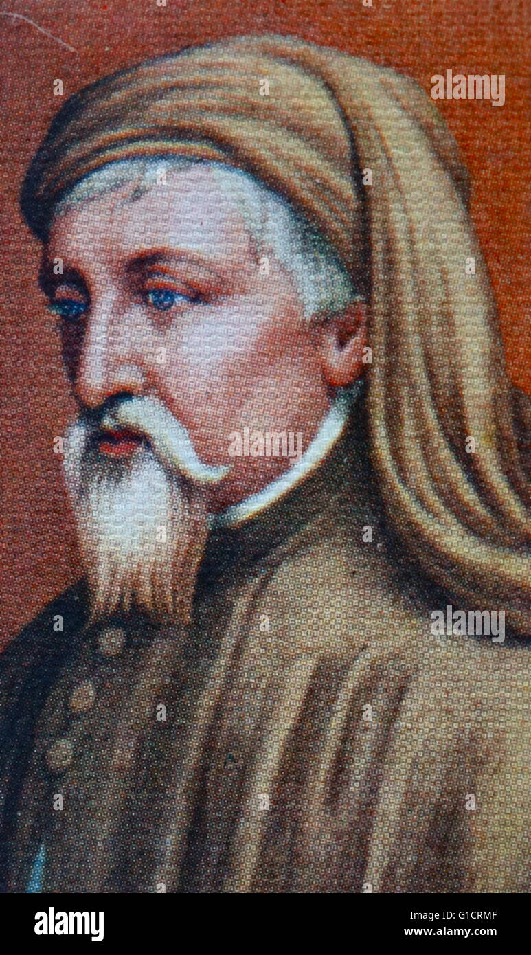 Geoffrey Chaucer (c. 1343 – 1400); known as the Father of English literature; is widely considered the greatest - Stock Image