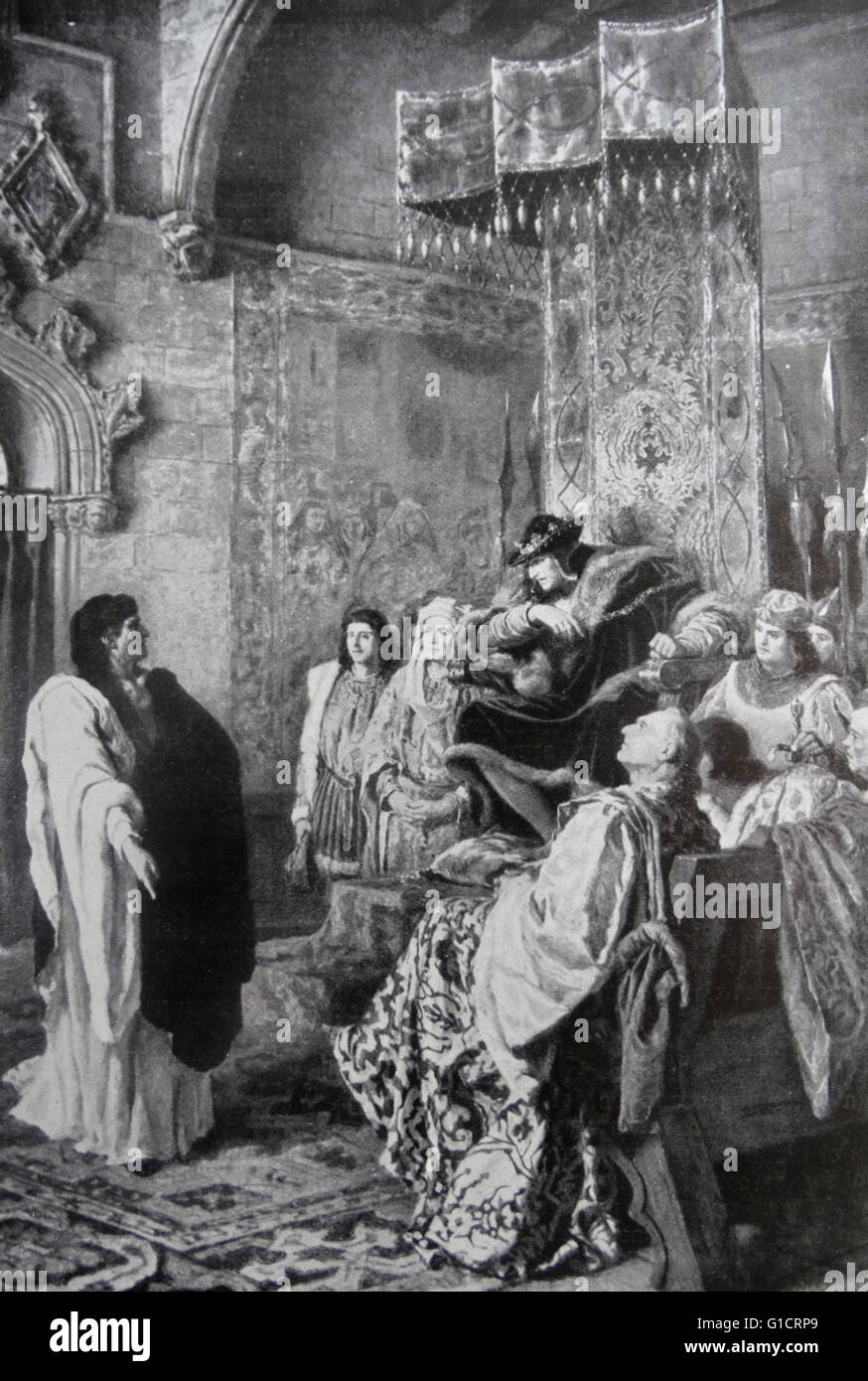 Painting depicting King Ferdinand I of Aragon paying the rights of vectigal meat by Ramon Tusquets (1837-1904) Spanish Stock Photo