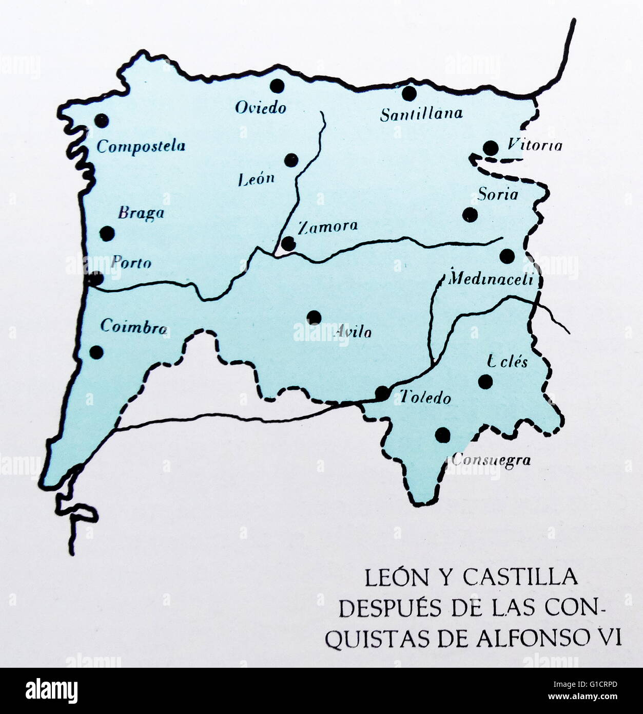 Map showing the Spanish provinces of Leon and Castille at the time
