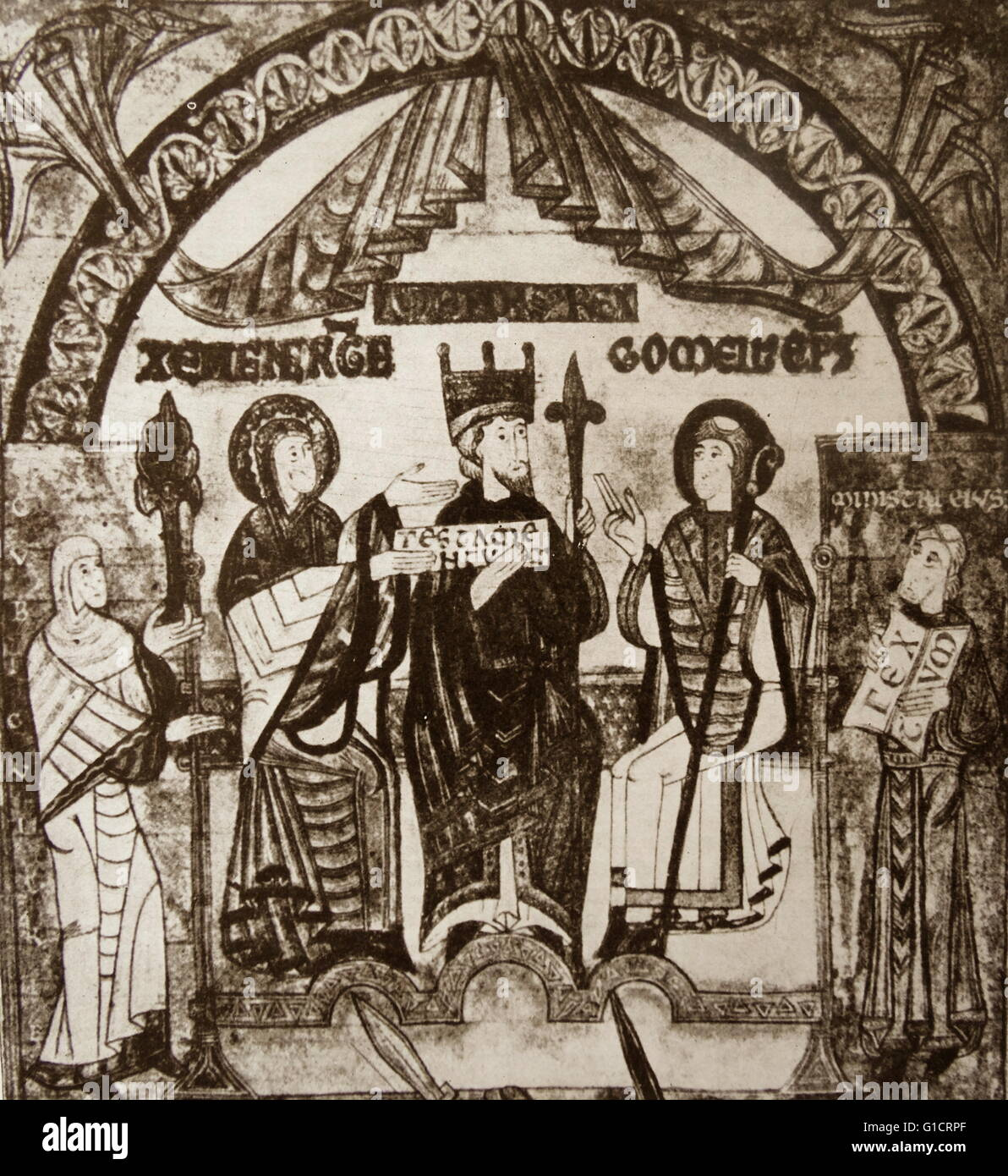 Miniature from the archives of Oviedo Cathedral showing Alfonso III (1265-1291) flanked by his queen, Jimena (left), - Stock Image
