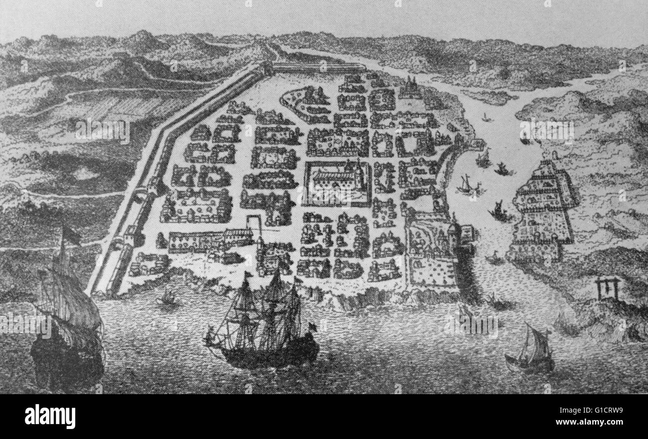 Engraving depicting a Panorama old city of Santo Domingo, Dominican Republic. Dated 15th Century - Stock Image