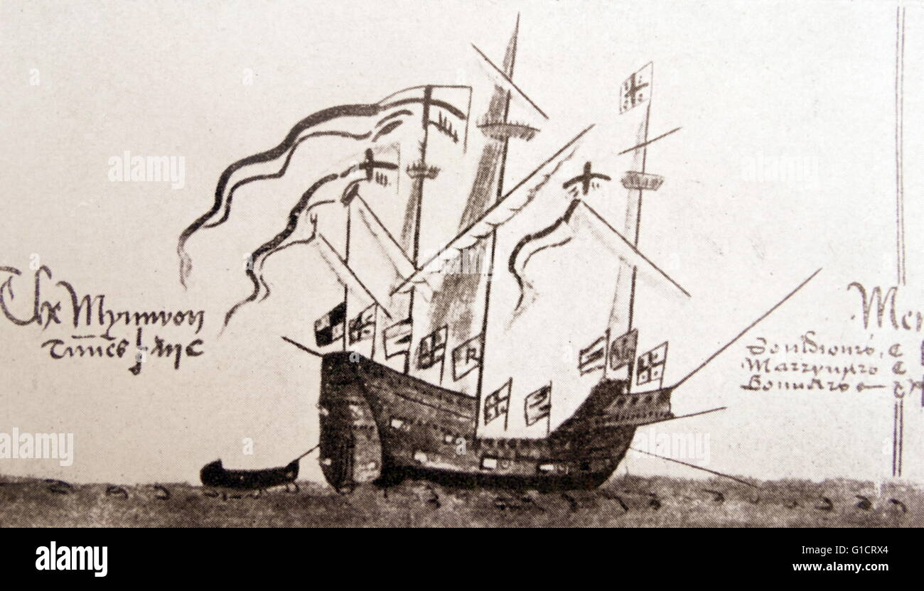 Ship of Sir Francis Drake (1540-1596) an English sea captain, privateer, navigator, slaver, and politician of the - Stock Image