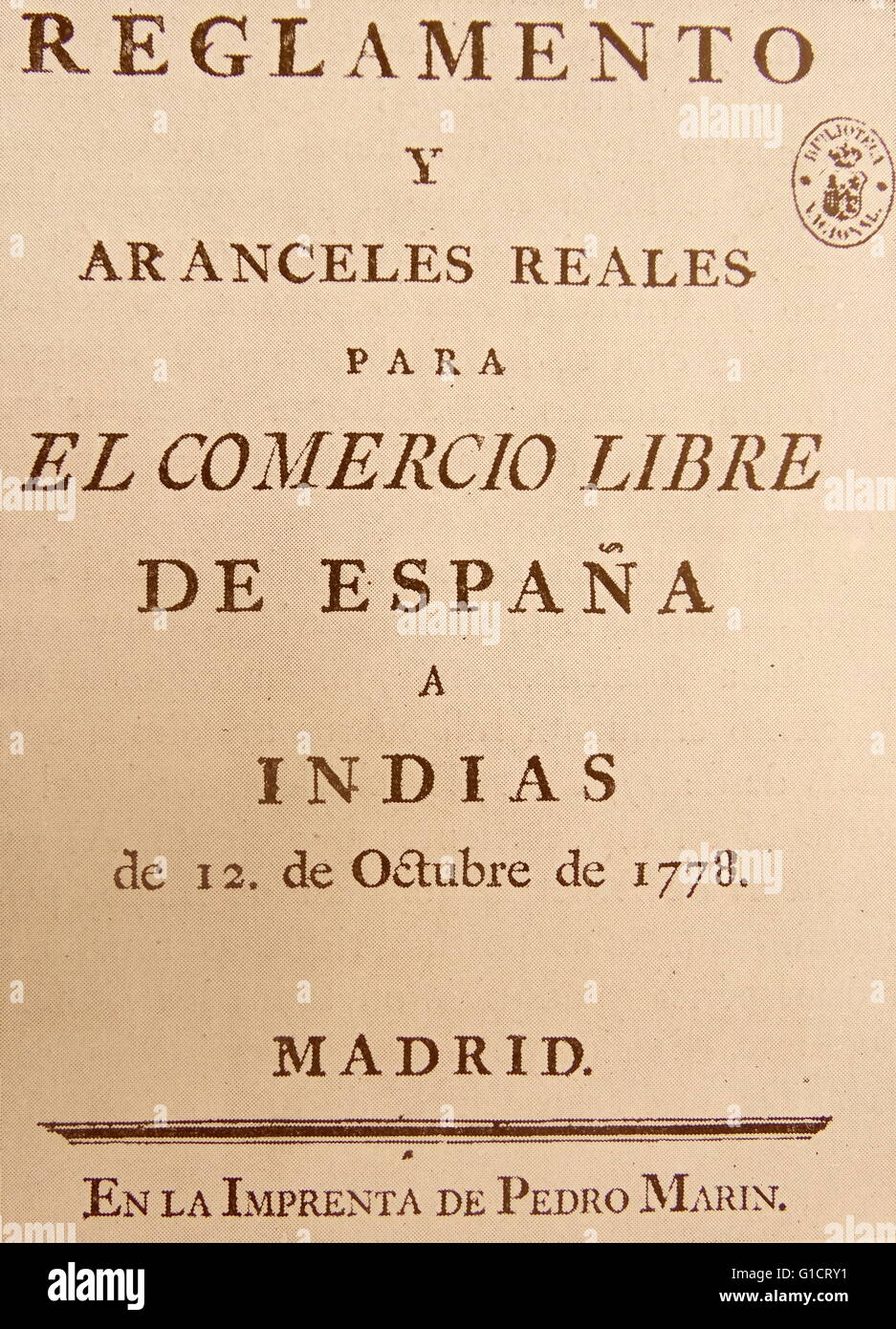 Home reals Regulations and tariffs, the application of which was very convenient for the economic life of Spain - Stock Image