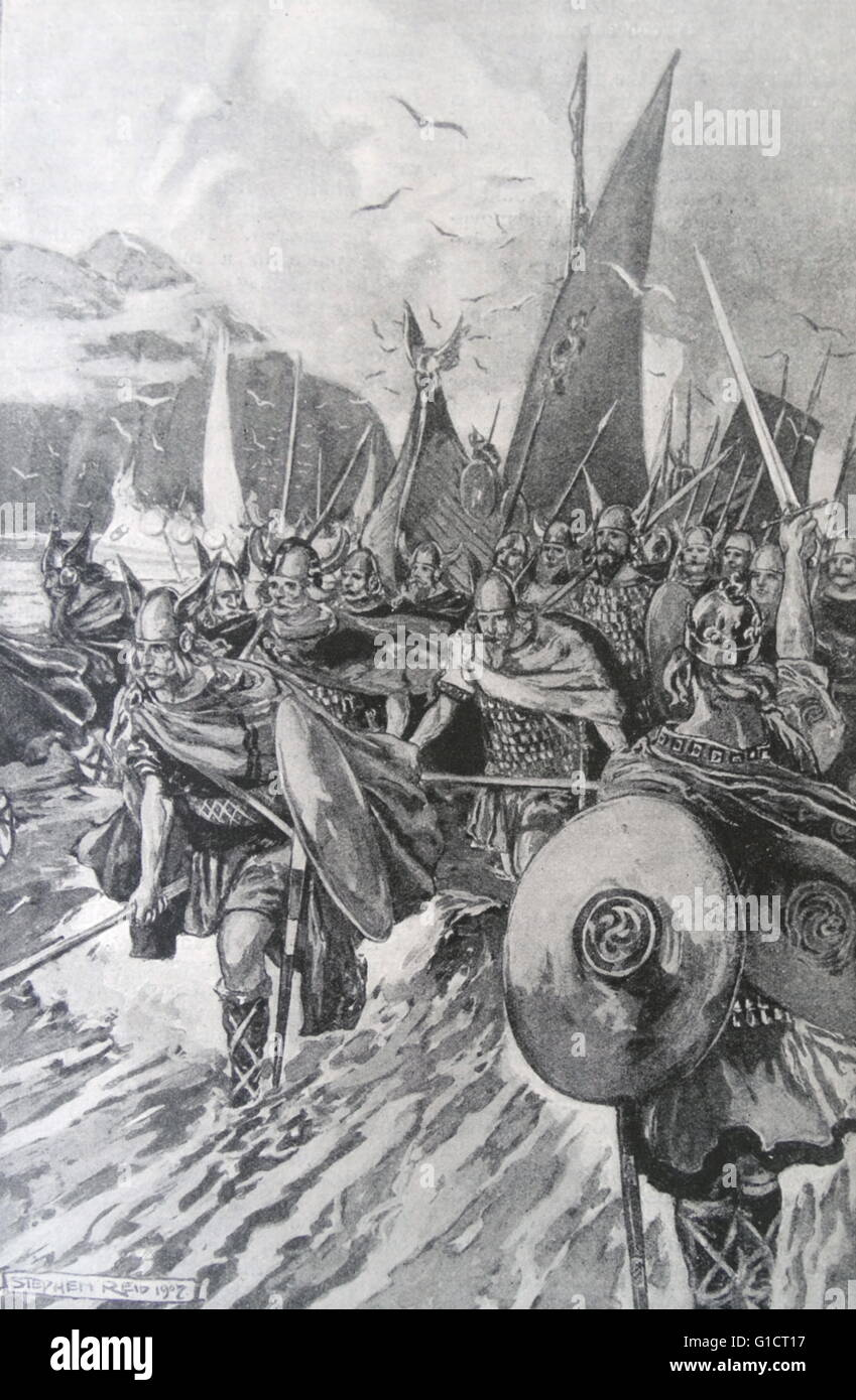 The Northmen taking Possession of Iceland. Illustration from the Harmsworth History of the World - Stock Image