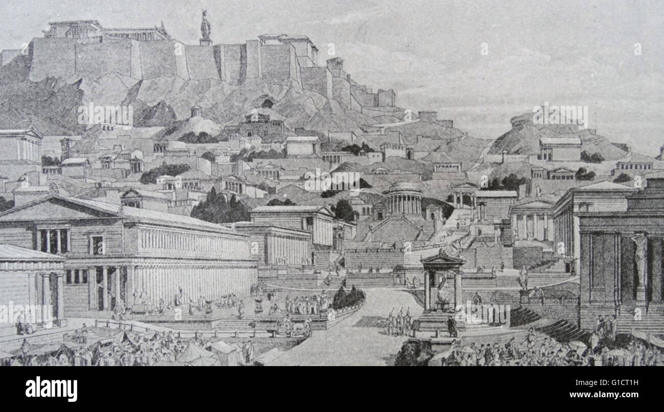 Illustration depicting a reconstructed Acropolis - Stock Image