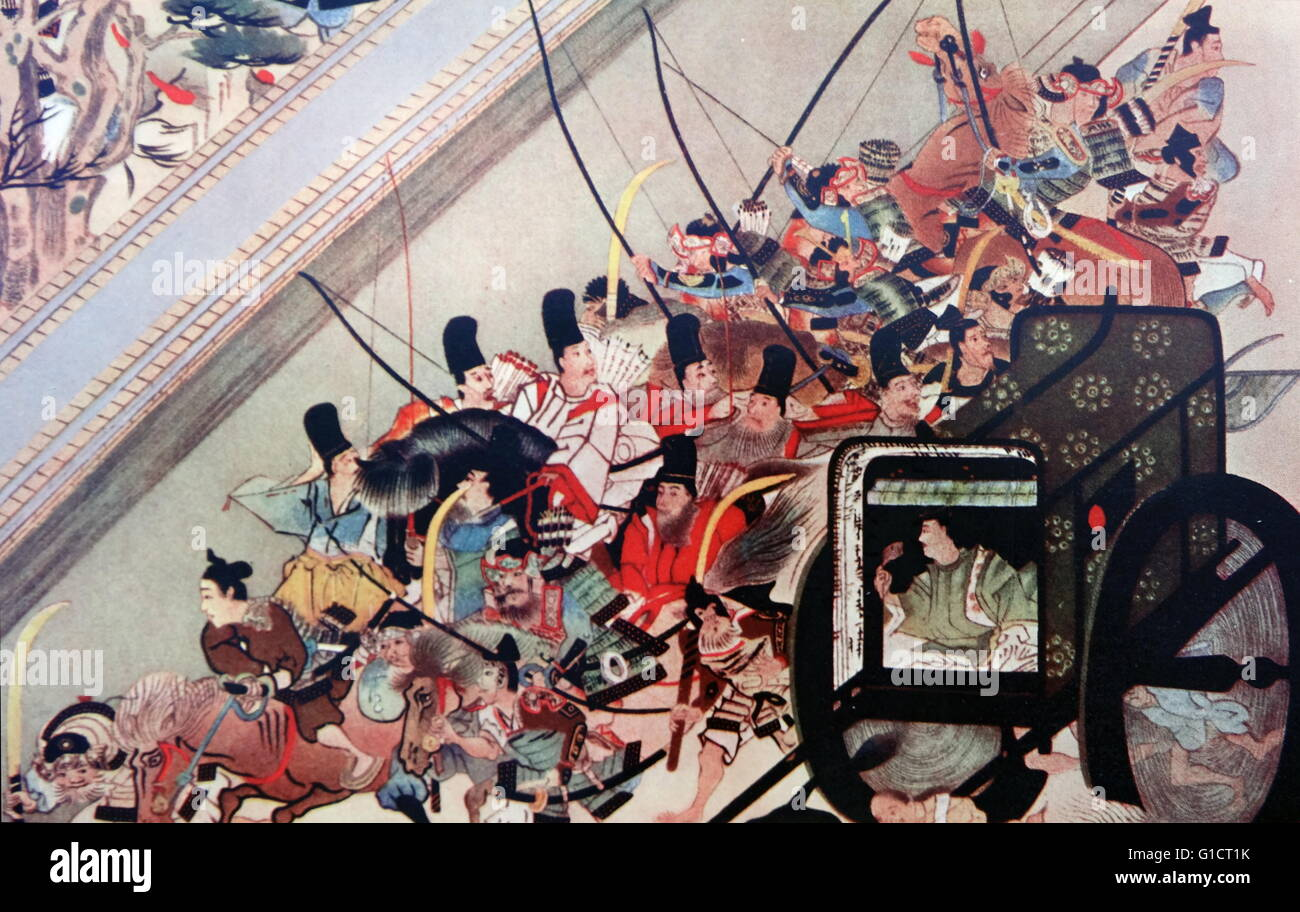 Print depicting the Abduction of Emperor Go-Shirakawa (1127-1192) 77th Emperor of Japan. Dated 12th Century - Stock Image