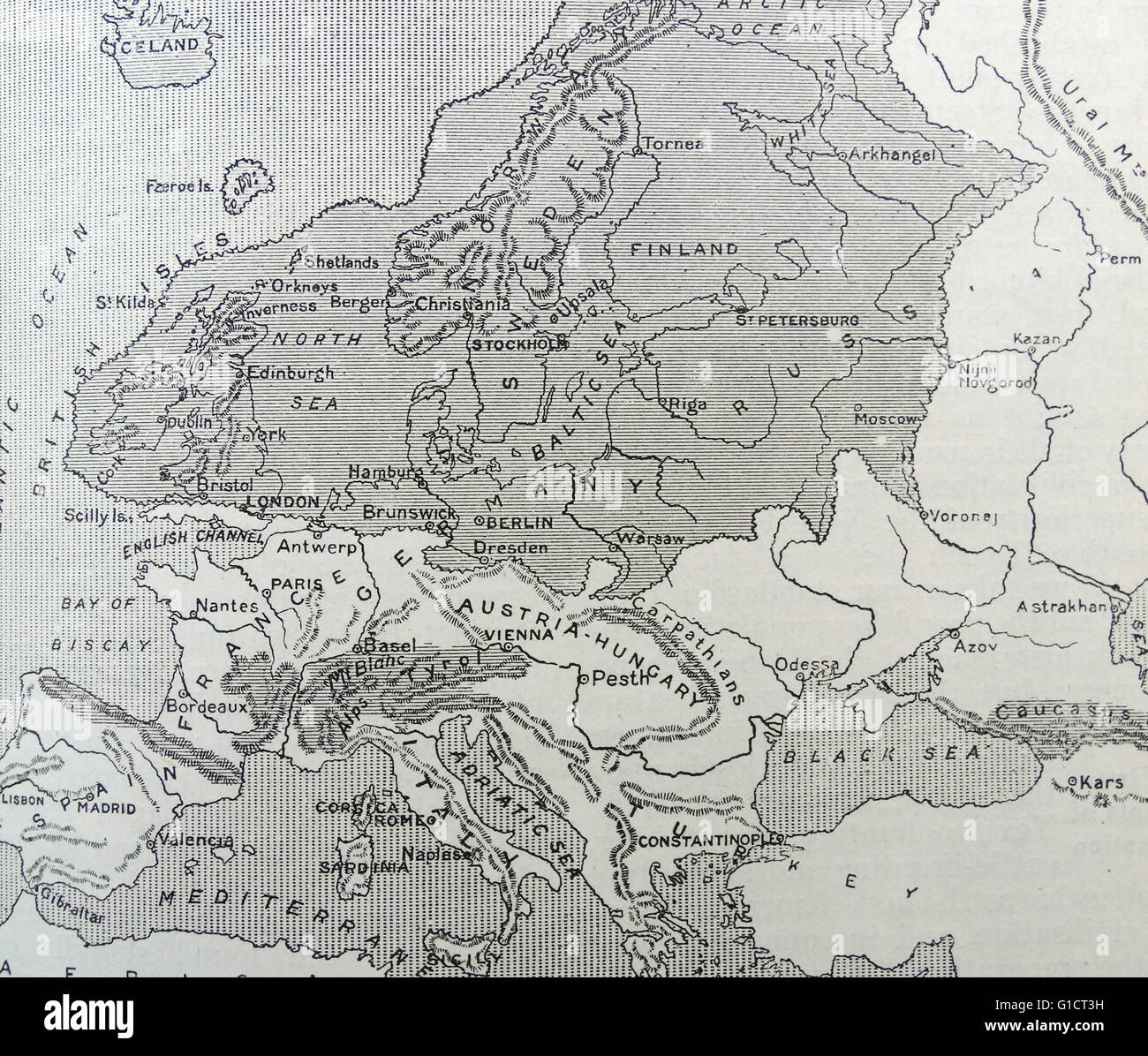 Map Of Europe During The Ice Age Stock Photo 104159205 Alamy