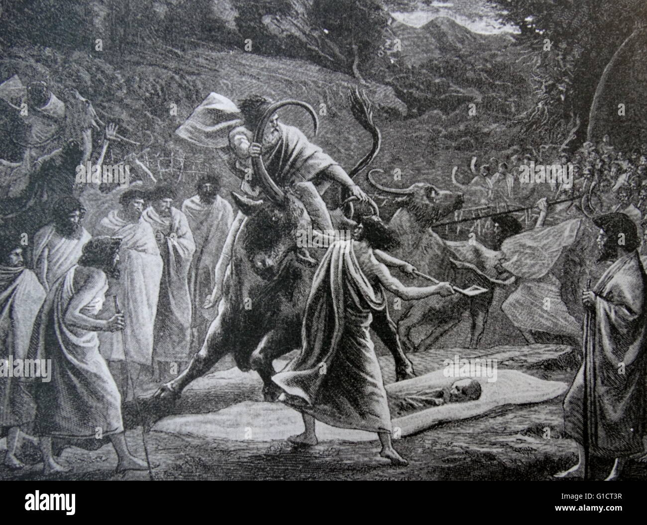 Engraving depicting the Funeral Sacrifice of the Todas in Southern India - Stock Image