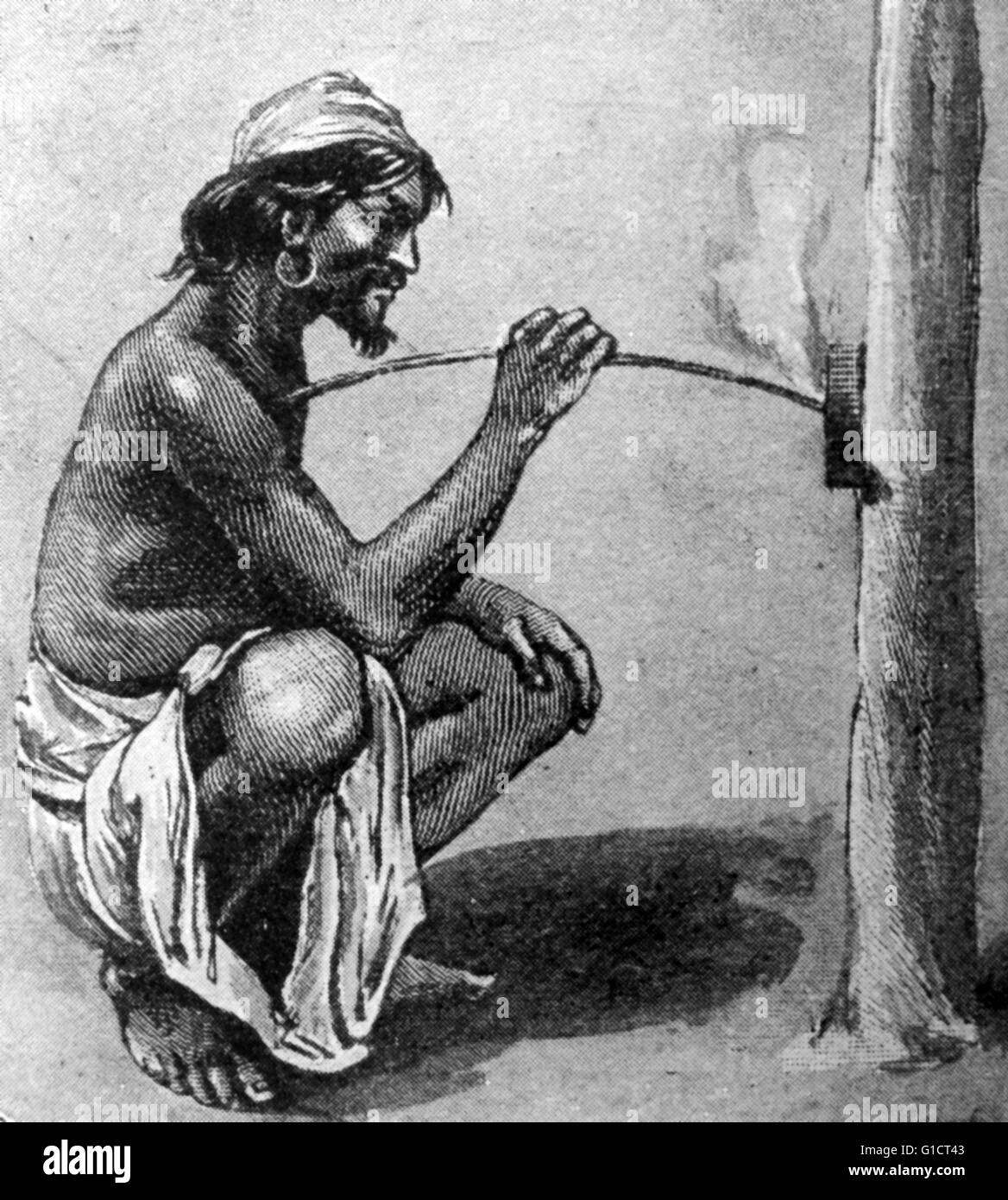 Engraving depicting Gaúcho using friction to create fire. Dated 19th Century - Stock Image