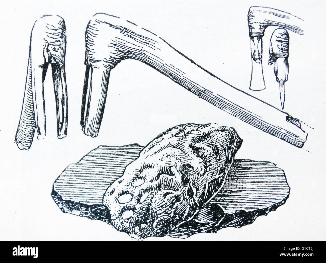Illustration depicting implements of the stone age - Stock Image