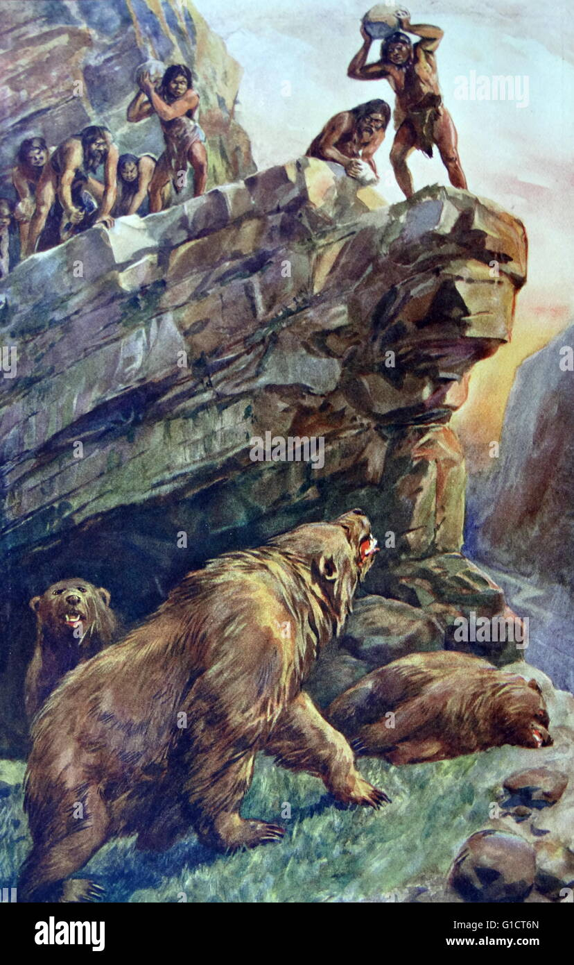 Painting depicting prehistoric men attacking the Great Cave Bears. Dated 18th Century - Stock Image