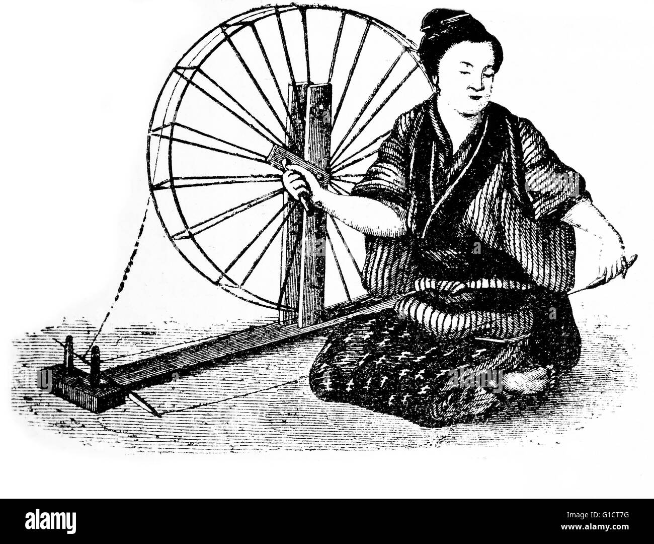 Woodcut drawing of a Japanese peasant woman reeling silk - Stock Image