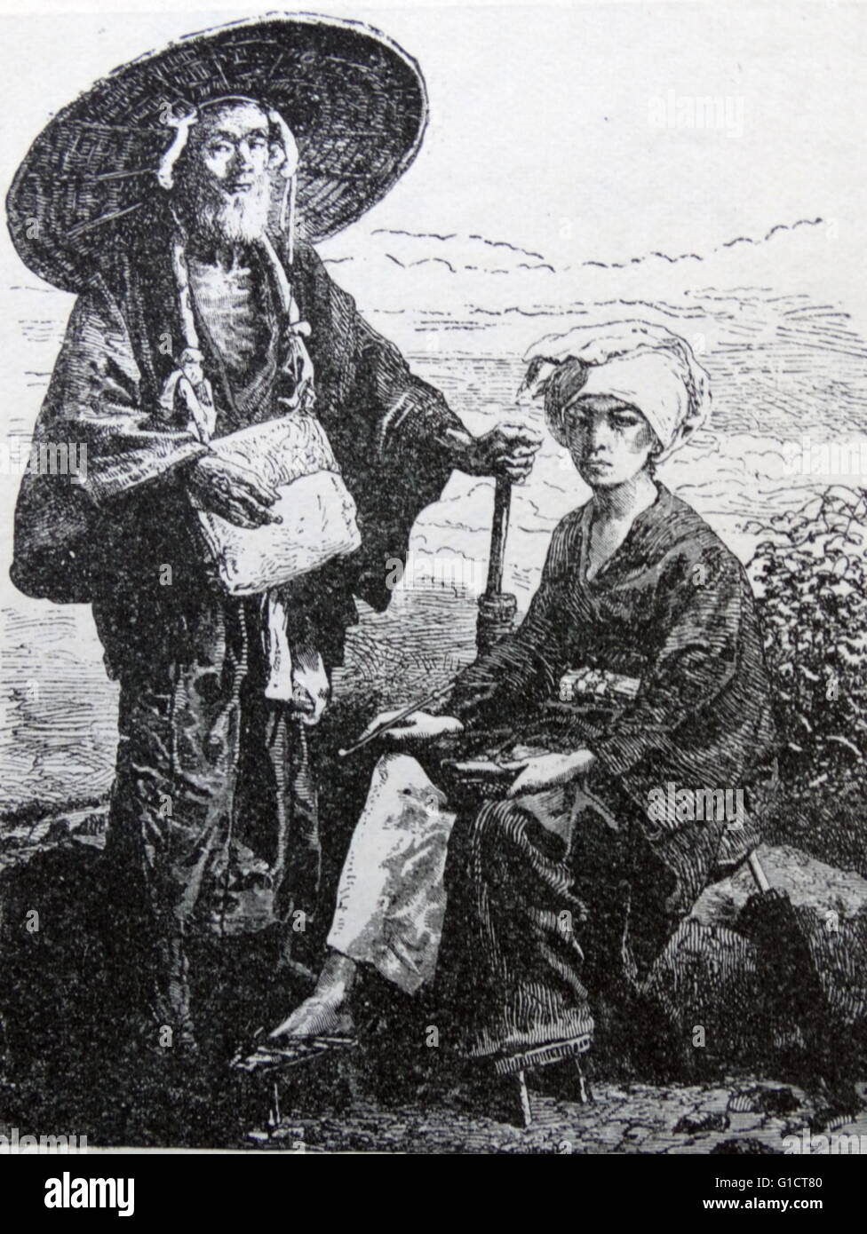 Engraving depicting a Japanese man on a pilgrimage - Stock Image