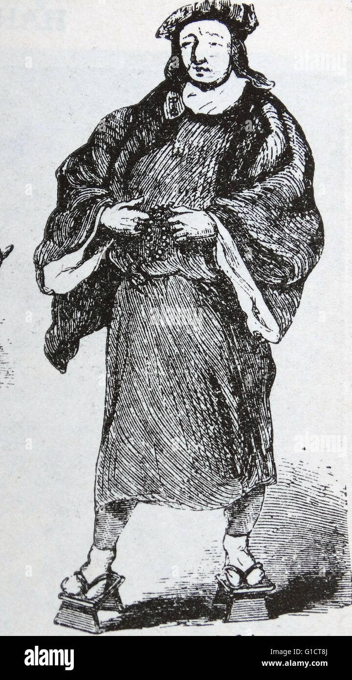 Woodcut of a Medieval friar Stock Photo