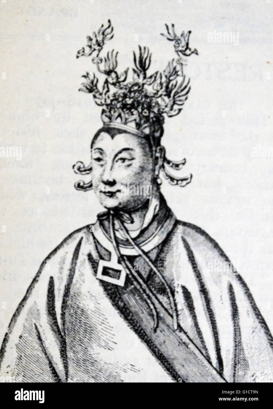 Wu Zetian (624 – 705 AD); also known as Wu Zhao; Wu Hou; and during the later Tang dynasty as Tian Hou. Empress - Stock Image