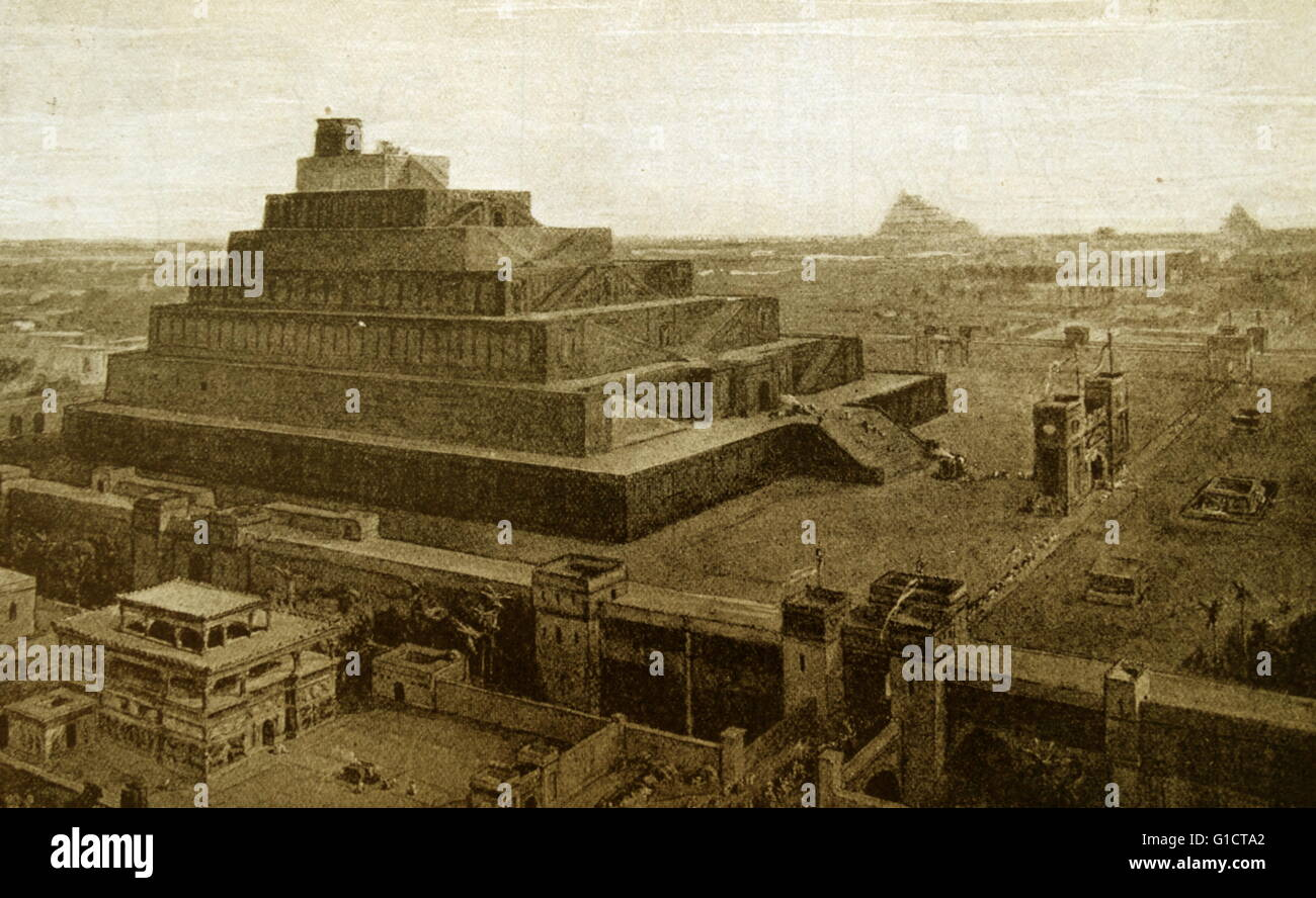 Painting depicting the city of Babylon in ancient Mesopotamia. Stock Photo