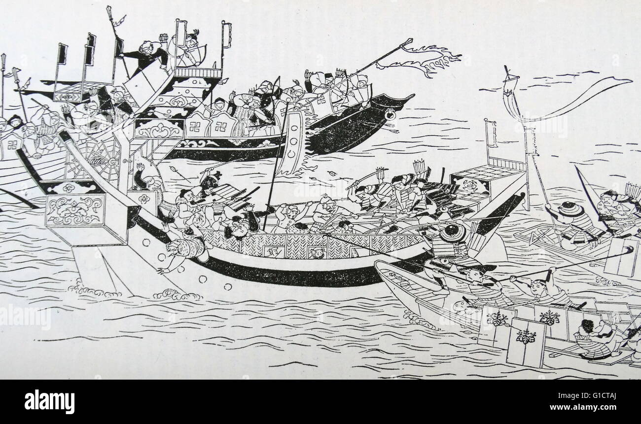 Illustration depicting the attempted invasion of Japan by the Mongol Armada. Dated 13th Century - Stock Image