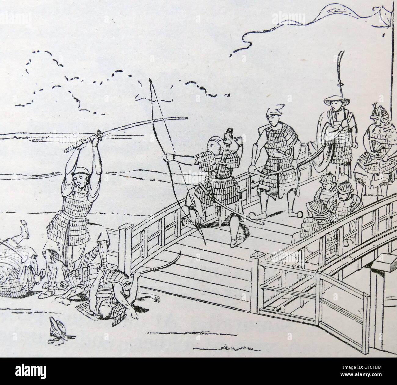 Woodcut depicting the massacre of the Mongols - Stock Image