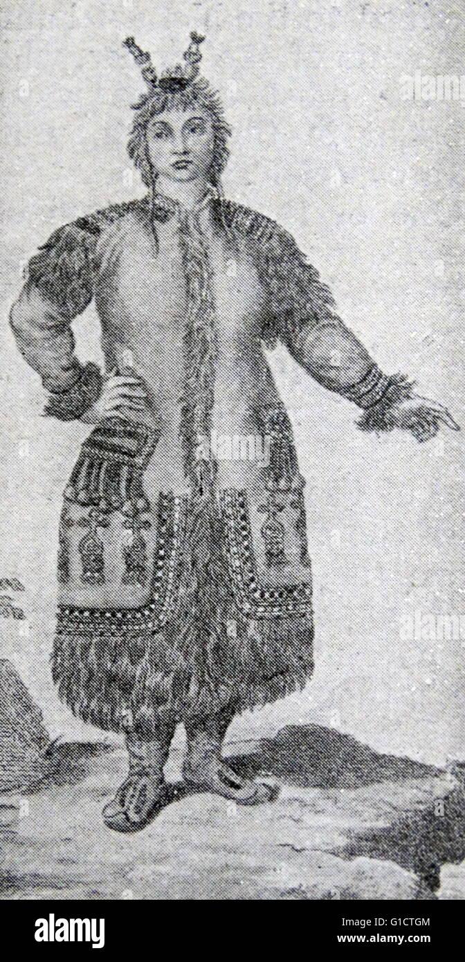 Yakutsk peasant woman; Tsarist Russia 1860 - Stock Image