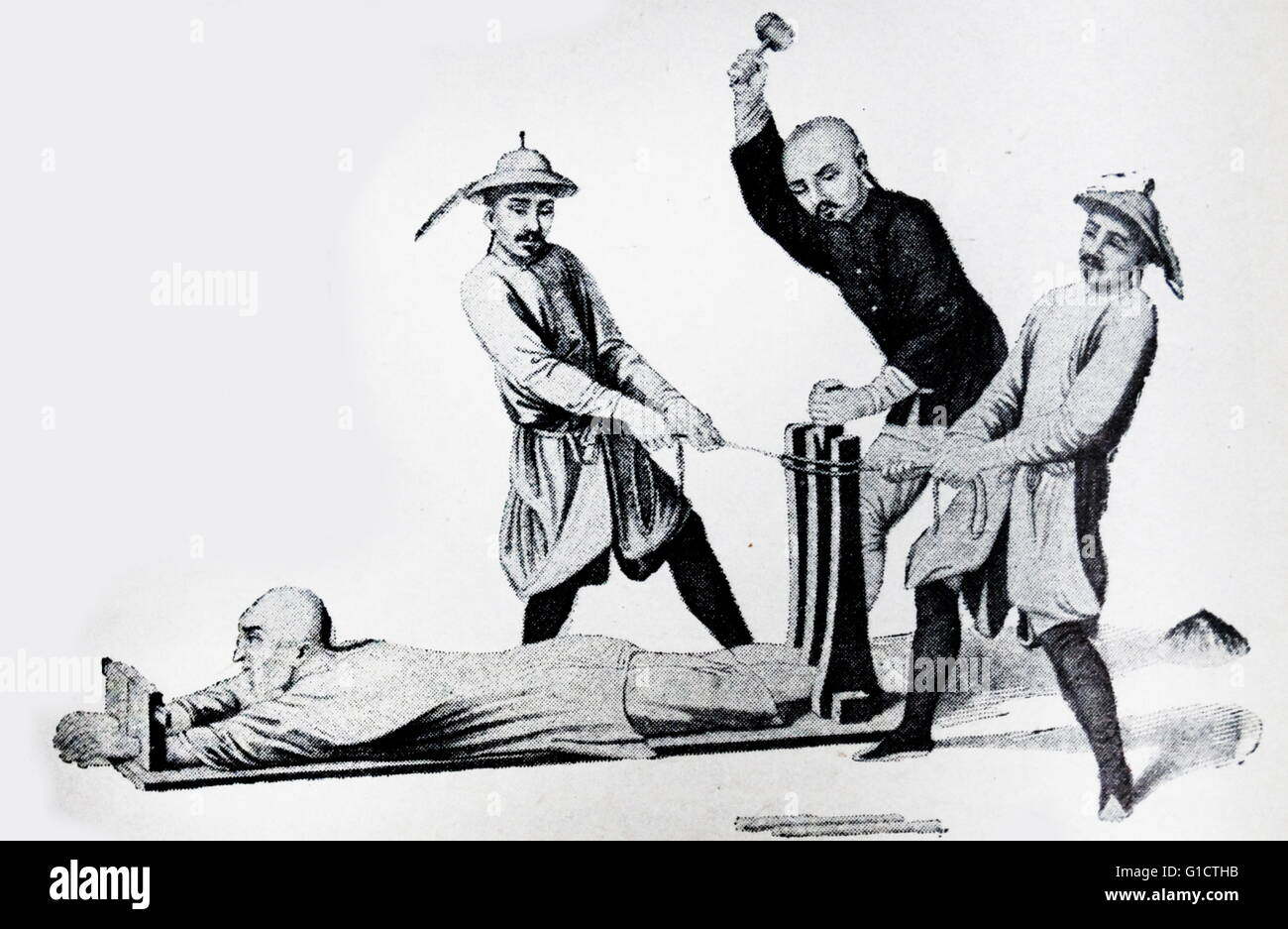 Torture of a criminal in China 1860 - Stock Image