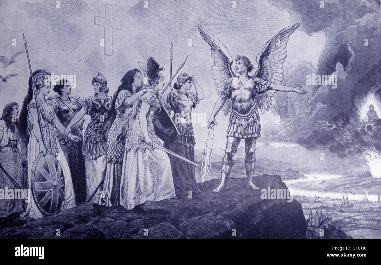 German illustration showing the archangel Michael urging the nations of Europe to challenge China (the Yellow Peril) - Stock Image
