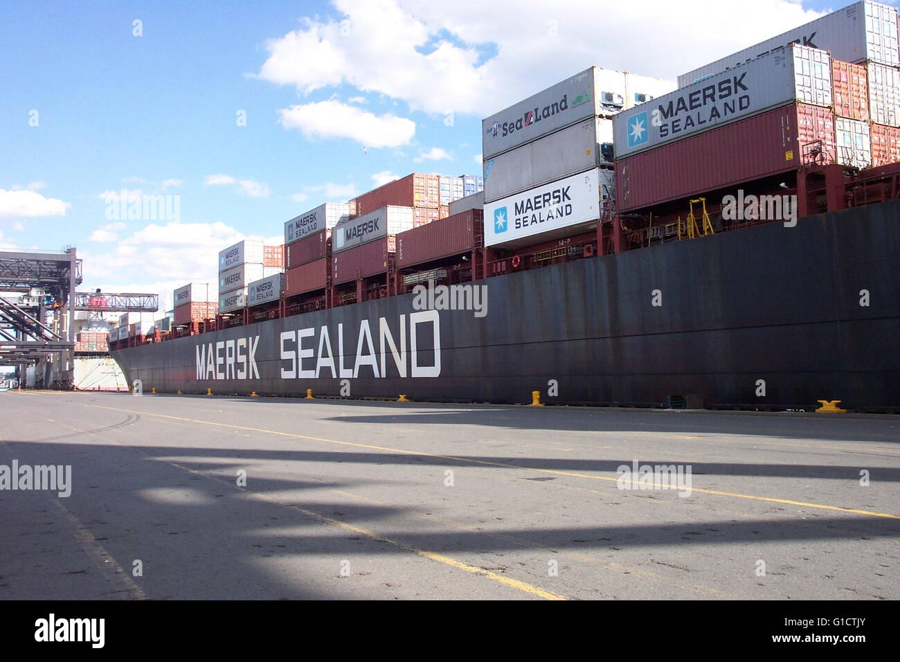 The forward 2/3 of the SEALAND COMMITMENT; a 950-foot containership Stock Photo