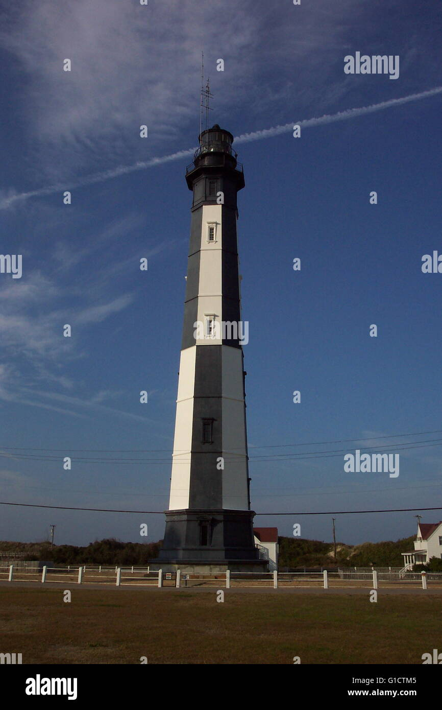 Photograph of Cape Henry Lighthouse. A lighthouse in Virginia Beach, Virginia. Photographed by Captain Albert E. - Stock Image