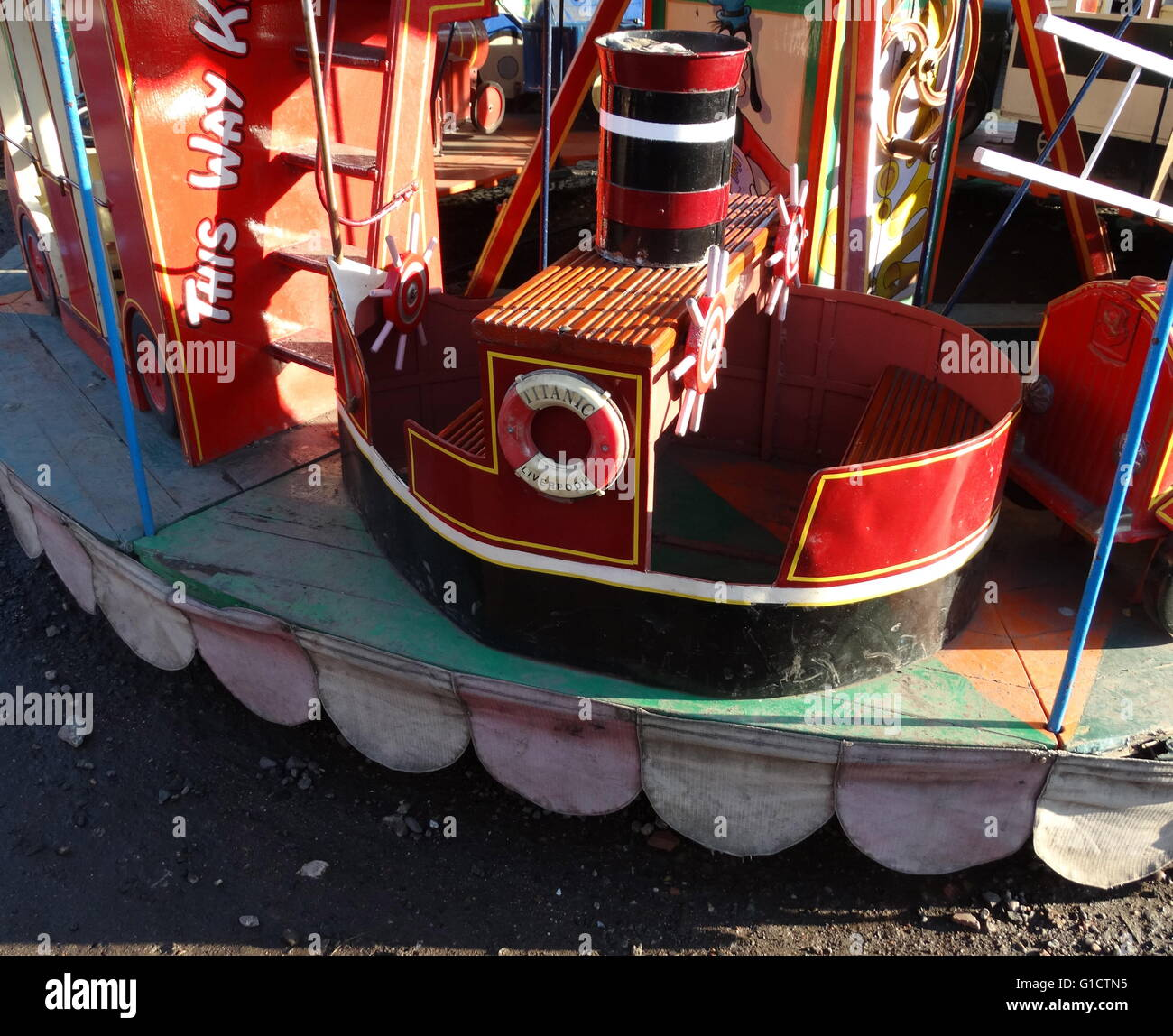 reconstructed merry go round northern England, circa 1930 - Stock Image