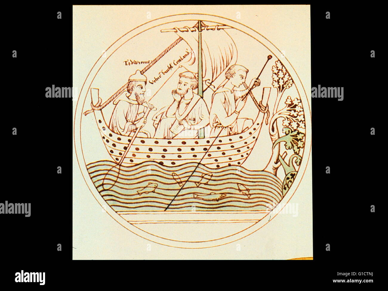 St. Brendan striking out into the Atlantic - about 6th Century A.D. St. Brendan checking depths with his sounding - Stock Image