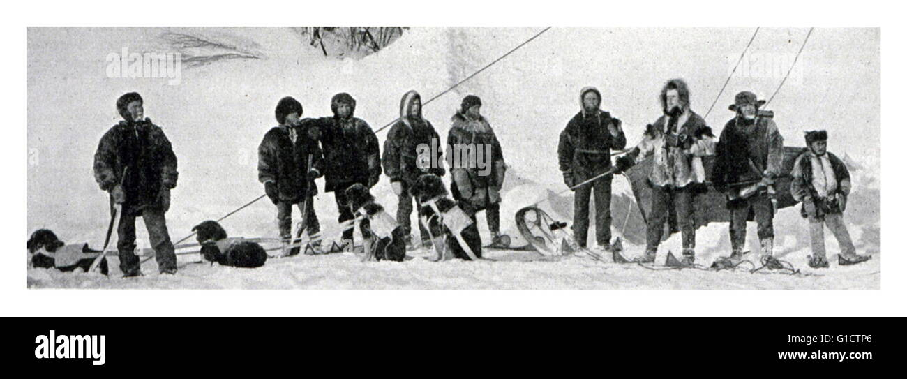 Dog sled trip up the 141st Meridian to the Arctic Ocean. International Boundary Party under Assistant John H. Turner. - Stock Image