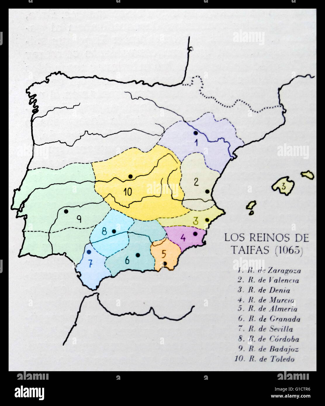 The Taifas kingdoms in Spain 1065 AD. a taifa was an independent Muslim-ruled principality; usually an emirate formed Stock Photo