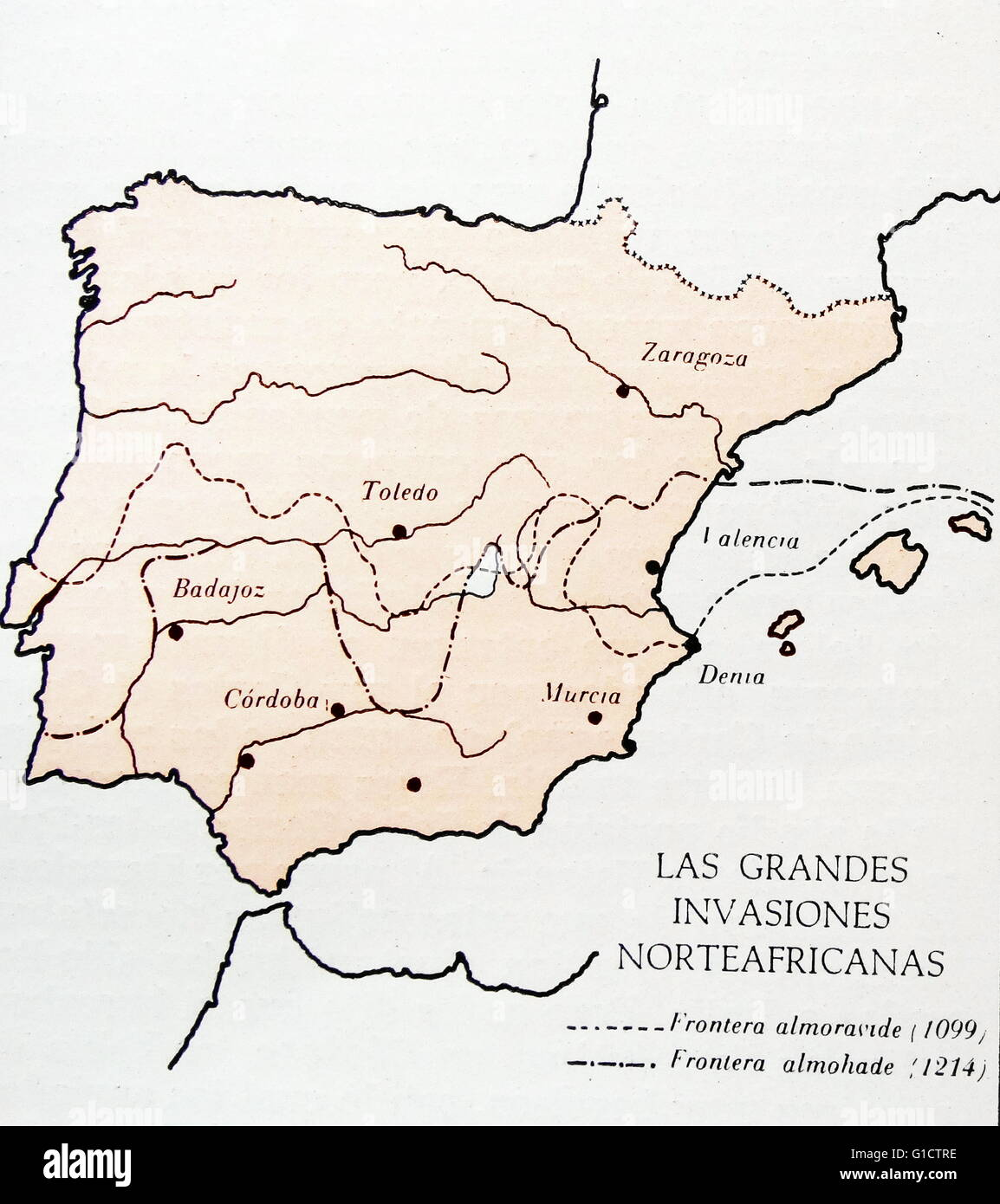 Map showing moslem invasions of Spain between 1099-1214 AD - Stock Image