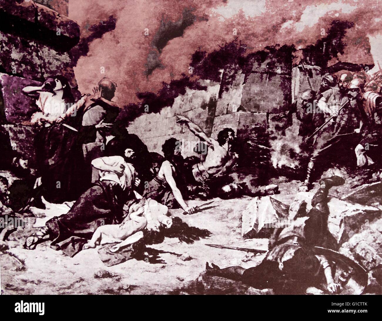 Numancia (Numancia's Last Day) 1881 by Alejo Vera y Estaca. Spanish painter. Numantia is famous for its role - Stock Image