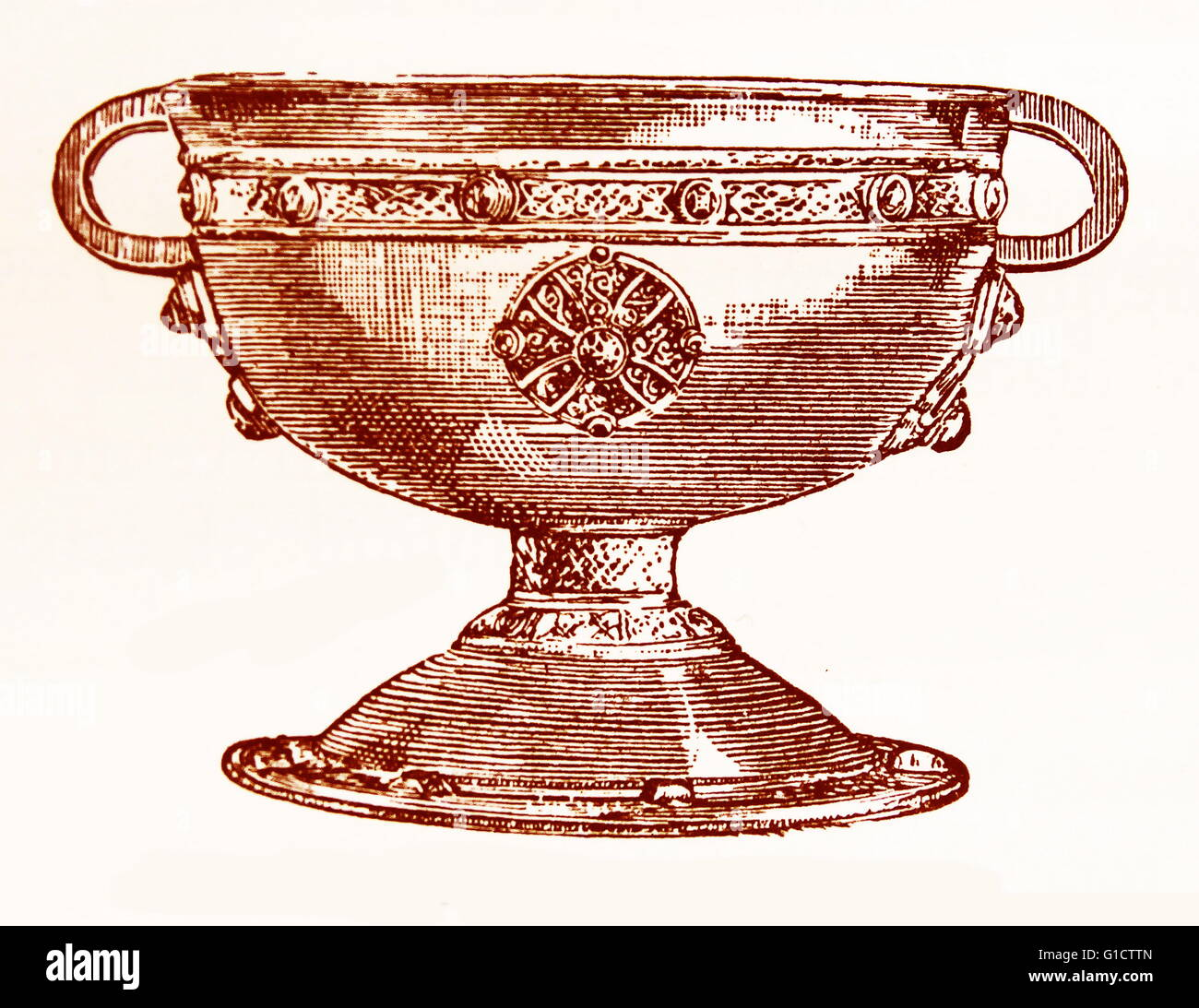 the Ardagh Chalice; Celtic metalwork goblet from the 8th - 9th centuries. Found in 1868; it is now on display in - Stock Image