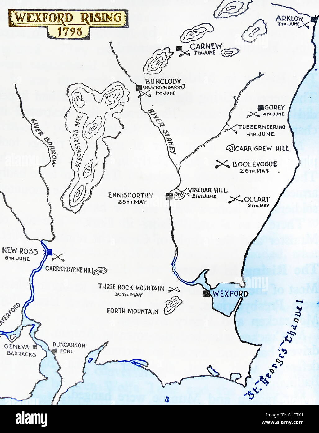 Map Of Wexford County Ireland.The Wexford Rebellion Refers To The Outbreak In County Wexford Stock