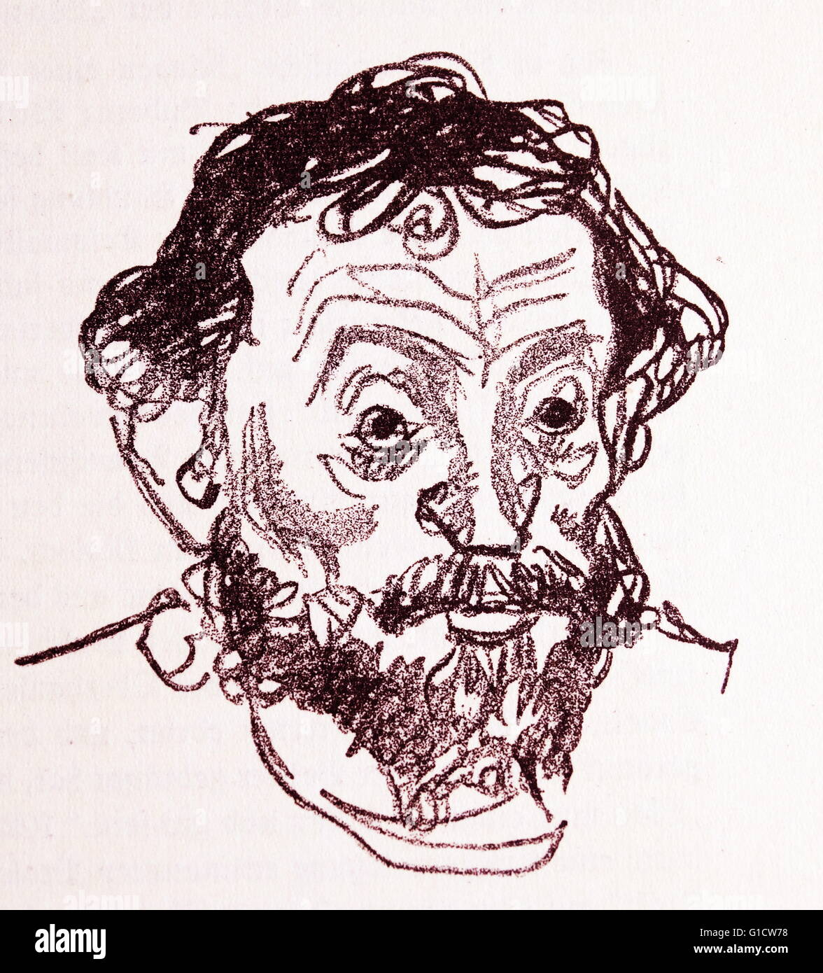 Charcoal portrait of Ernst Barlach (1870-1938) a German expressionist sculptor, printmaker and writer. Dated 20th - Stock Image