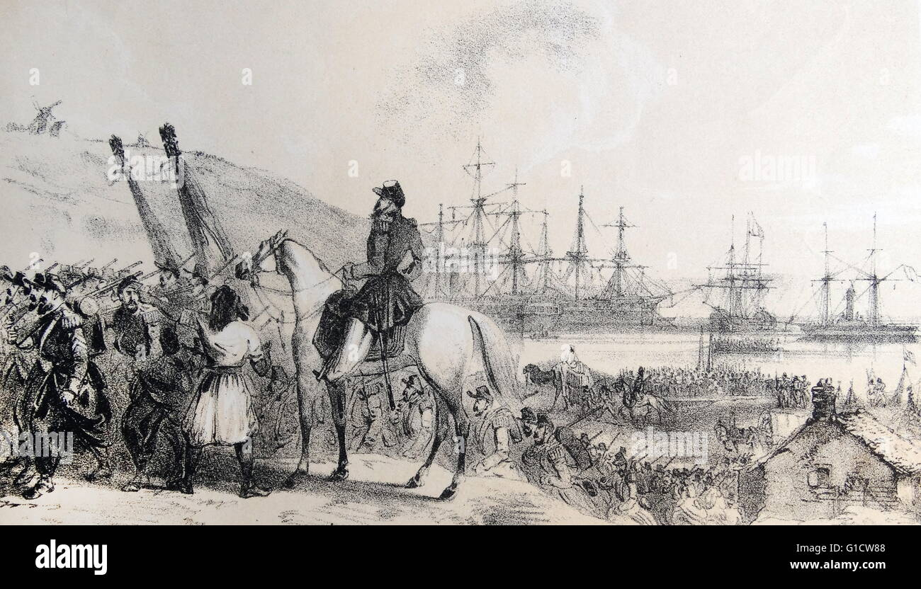 Tinted lithograph of the French depot and landing place, Cherson-Cossack Bay. Dated 19th Century - Stock Image