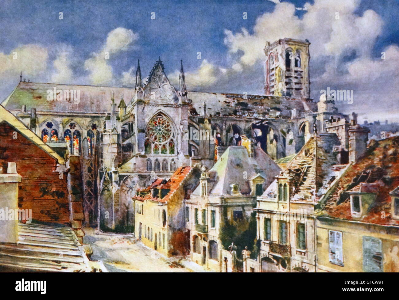 painting of soissons a commune in the aisne department in picardy