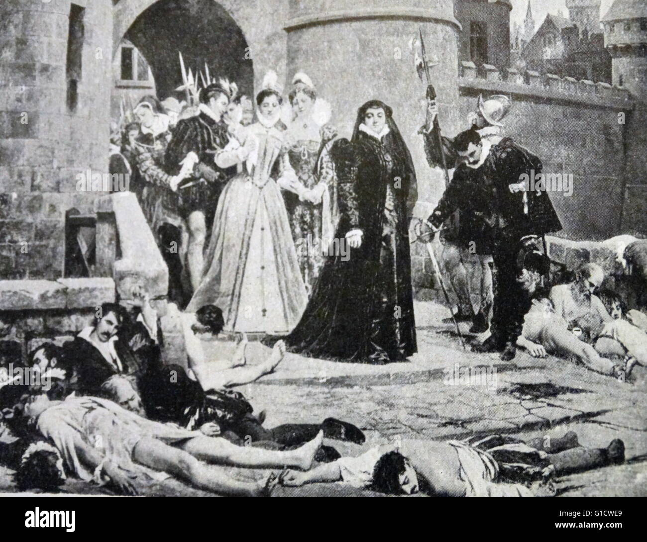 Painting depicting Catherine de Medici (1519-1589) viewing the aftermath of the St. Bartholomew's Day massacre. The massacre was a targeted group of assassinations and a wave of Catholic mob violence, directed against the Huguenots during the French Wars of Religion. Dated 16th Century Stock Photo
