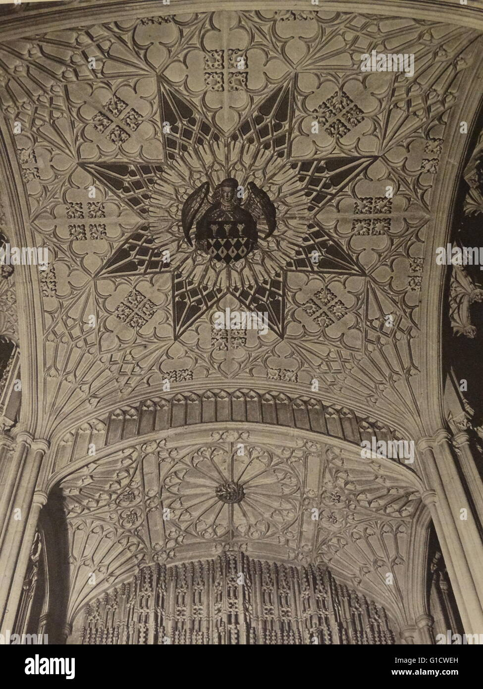Photographic print of the stone canopy above the effigy of Bishop Wayneflete. Dated 20th Century - Stock Image