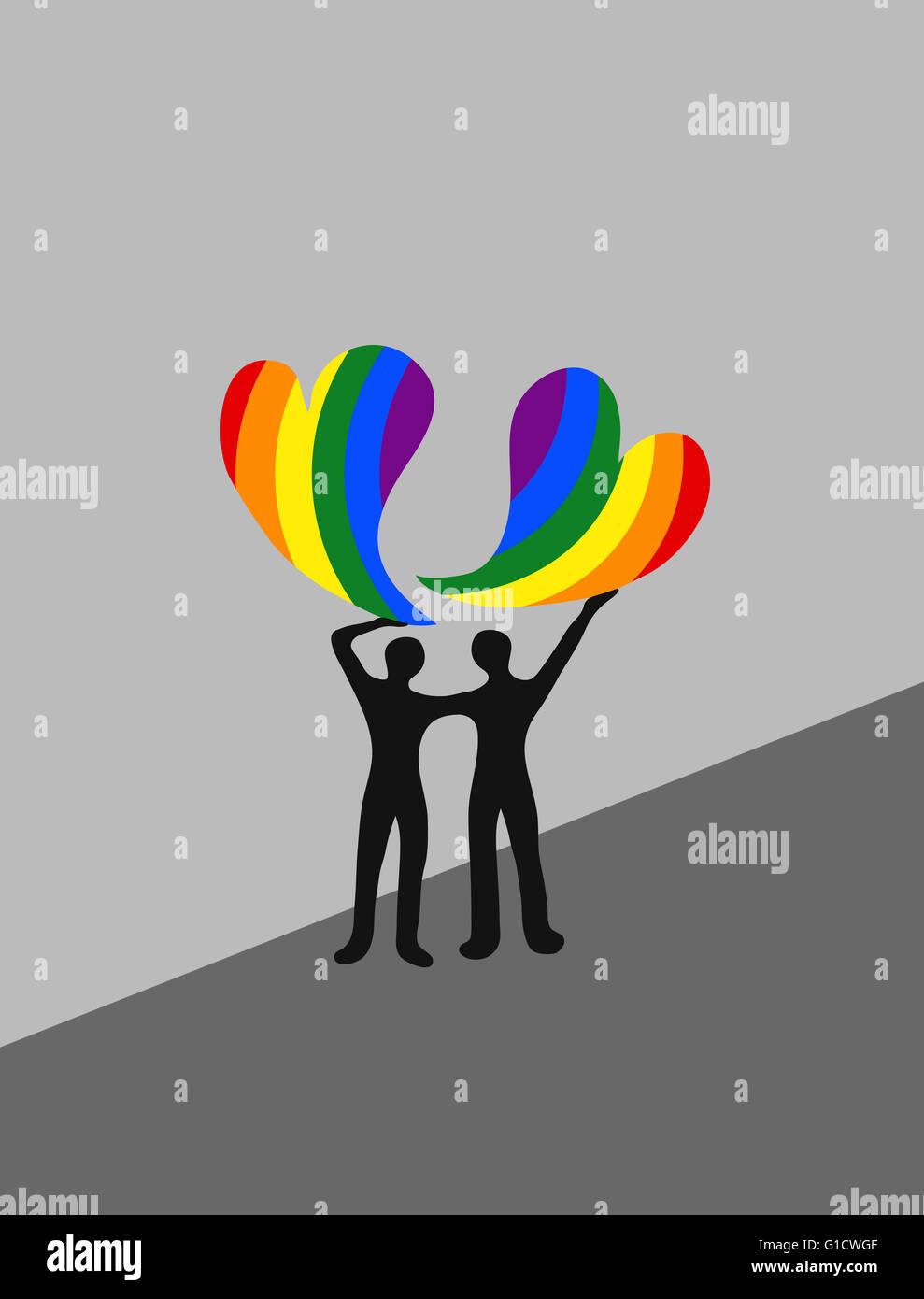 Couple holding up rainbow hearts - Stock Image