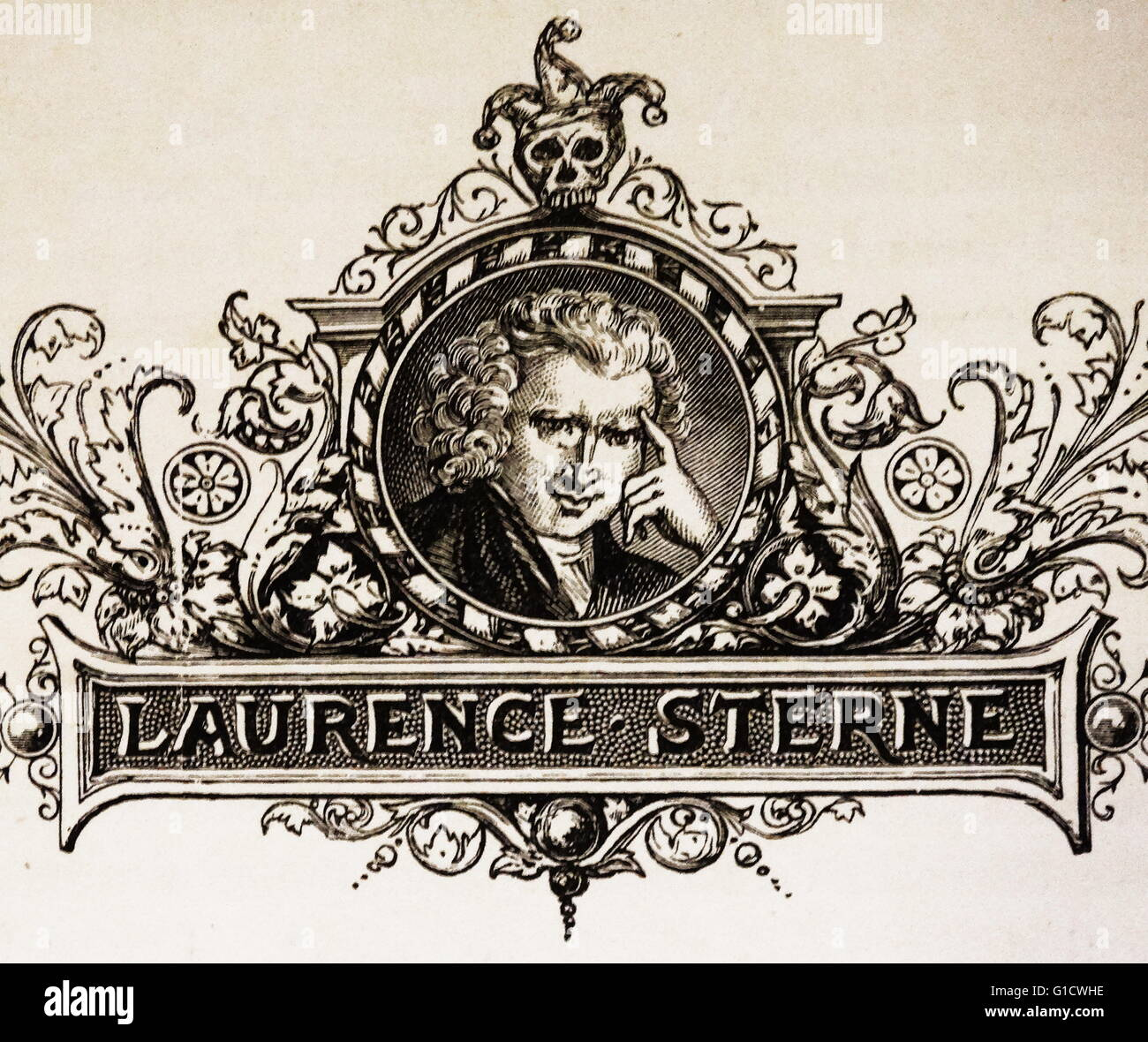Engraved portrait Laurence Sterne (1713-1768) an Anglo-Irish novelist and an Anglican clergyman. Dated 18th Century - Stock Image