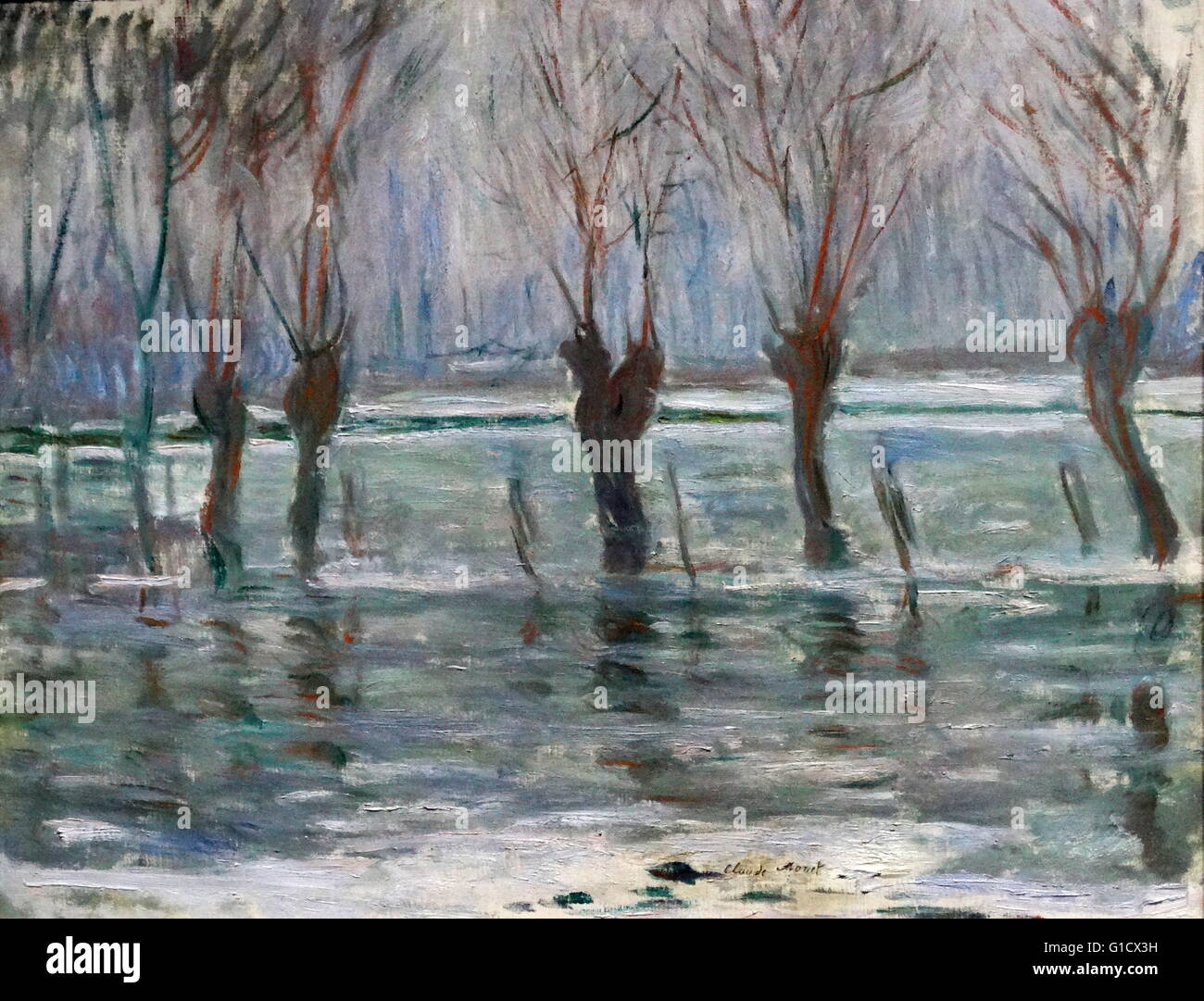 Painting titled 'Flood Waters' by Claude Monet (1840-1926) French Impressionist painter. Dated 19th Century - Stock Image