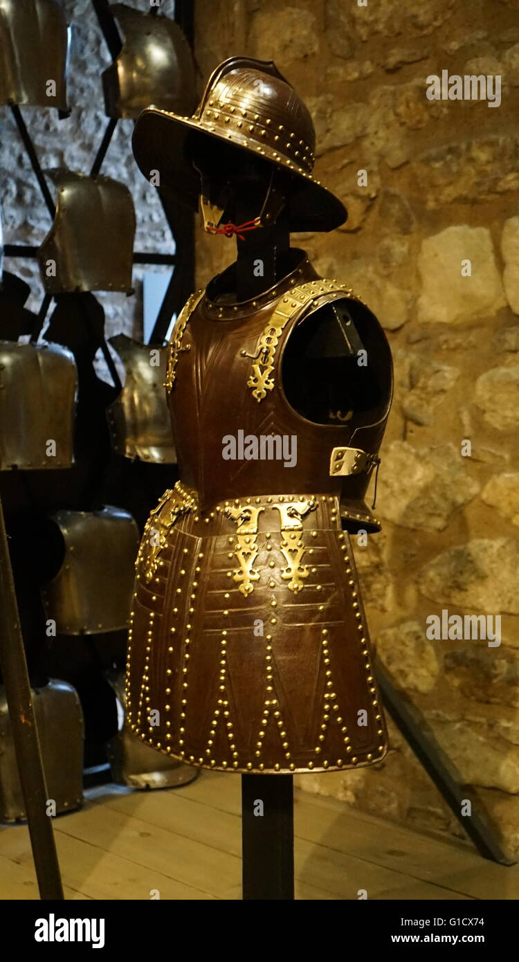 Pikeman's Armour from the Tower armoury. Dated 17th Century - Stock Image